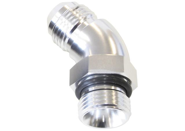 Aeroflow AF902-04-06S 45Deg -6orb To -4an Complete With Jam Nut And O-Ring Silver Sparesbox - Image 1