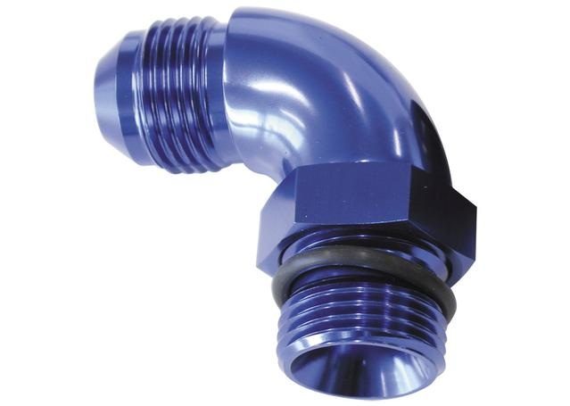 Aeroflow AF903-03 90Deg -3orb To -3an Complete With Jam Nut And O-Ring Blue Sparesbox - Image 1