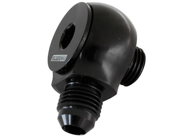 Aeroflow AF909-06-08BLK Slimline -8orb To -6an 90Deg For Use In Tight Radius Area Sparesbox - Image 1