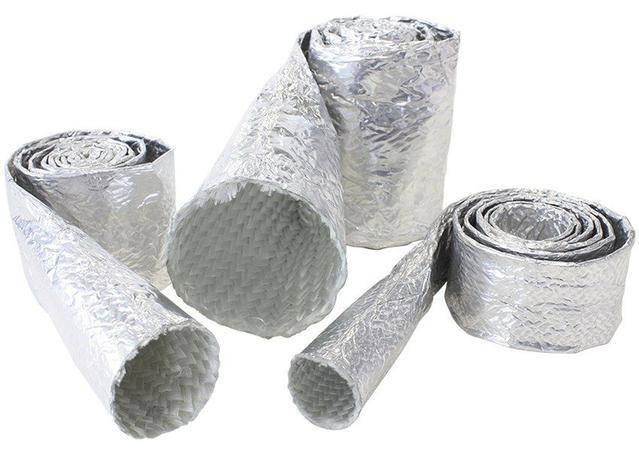 "Aeroflow AF91-5011 Aluminised Heat Sleeve 5/8""-1"" Silver Finish 3.7M / 12Ft Sparesbox - Image 1"