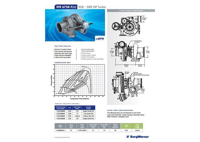Borg Warner Turbocharger EFR6758 (Less Tubine Hsg) Super Core