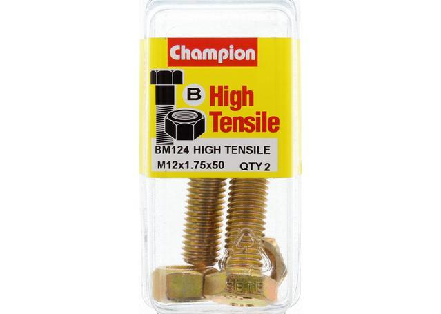 Champion Bolt & Nut Pack Metric M12x1.75 x 50mm BM124 Sparesbox - Image 1