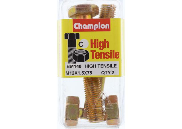 Champion Bolt & Nut Pack Metric M12x1.50 x 75mm BM148 Sparesbox - Image 1