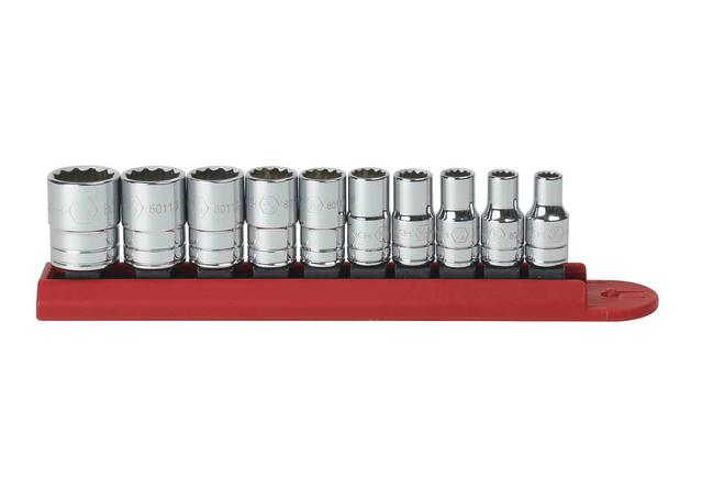"GearWrench Socket Set 1/4"" Drive Standard 12pt Rail SAE 10Pc Sparesbox - Image 1"