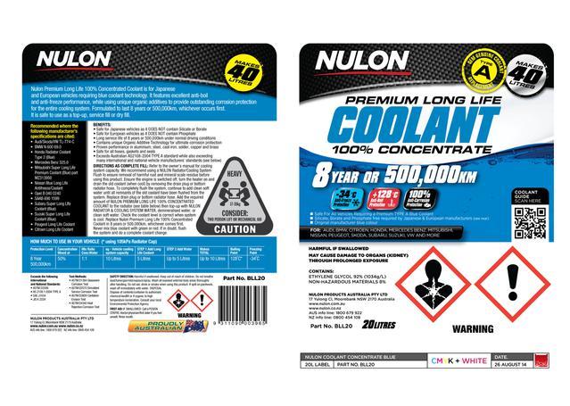 Nulon Coolant Blue Long Life Concentrate 20L
