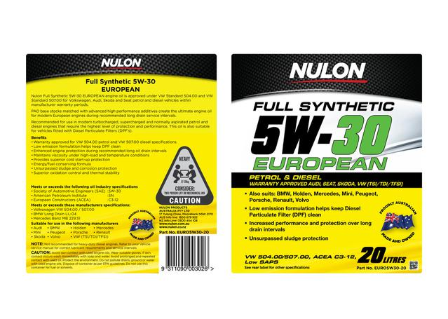 Nulon Full Synthetic Euro Engine Oil 5W30 20L