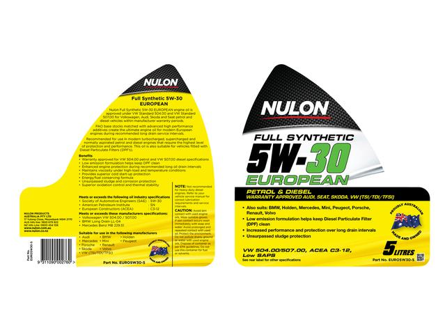 Nulon Full Synthetic Euro Engine Oil 5W30 5L Sparesbox - Image 2