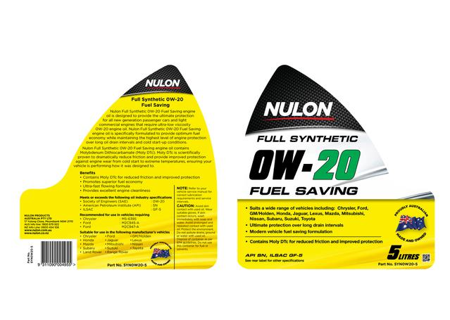 Nulon Full Synthetic Fuel Saving Engine Oil 0W20 5L Sparesbox - Image 2