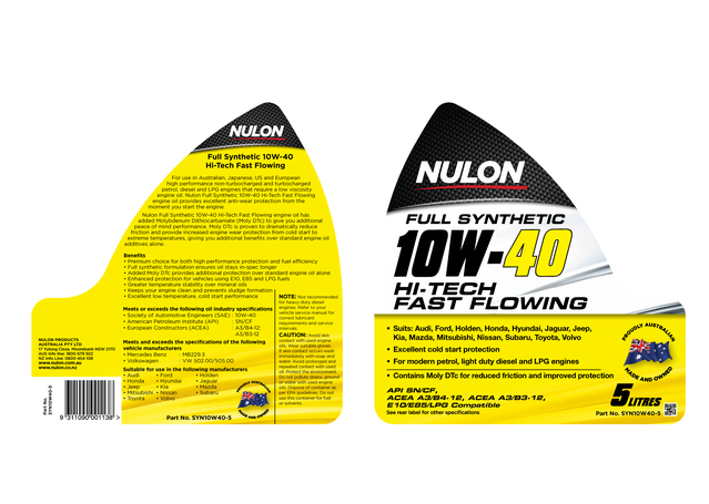 Nulon Full Synthetic Hi-Tech Engine Oil 10W40 5L Sparesbox - Image 2
