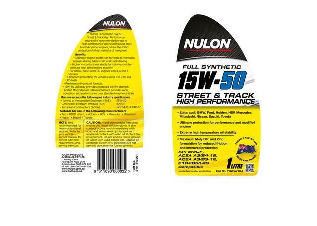 Nulon Full Synthetic Street Track Engine Oil 15W50 1L