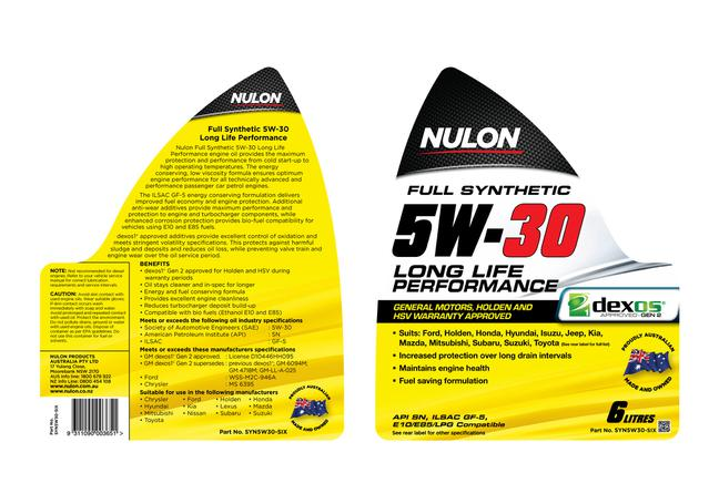 Nulon 5W30 Engine Oil Full Synthetic Long Life 6L Sparesbox - Image 2