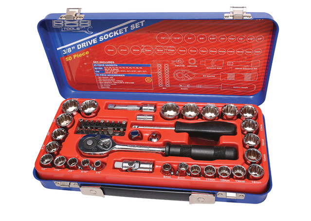 "888 By SP Tools Socket Set 888 3/8"" Dr 12PT Metric/SAE 50Pc Sparesbox - Image 1"