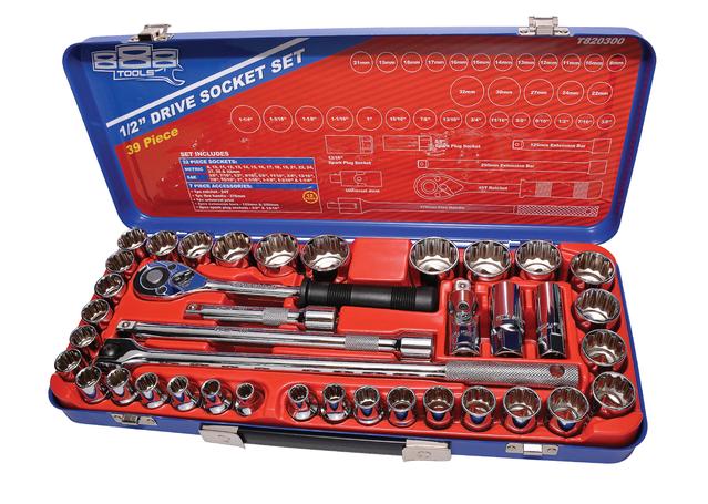 "888 By SP Tools Socket Set 888 1/2"" Dr 12PT Metric/SAE 39Pc Sparesbox - Image 1"