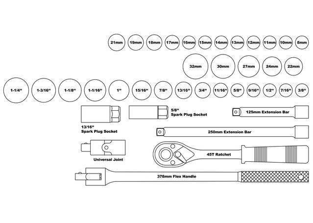 "888 By SP Tools Socket Set 888 1/2"" Dr 12PT Metric/SAE 39Pc Sparesbox - Image 2"
